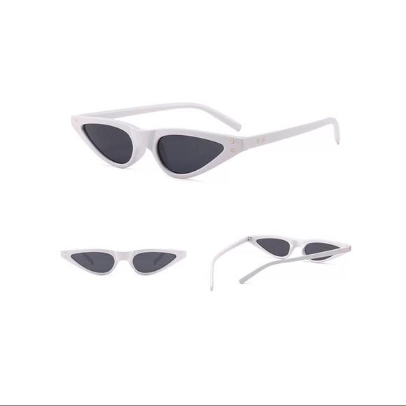 Accessories | White Small Frame Cat Eye Sunglasses | Poshmark